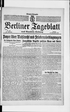 Berliner Tageblatt und Handels-Zeitung vom 13.09.1918
