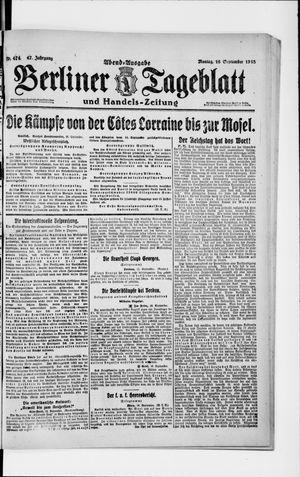Berliner Tageblatt und Handels-Zeitung vom 16.09.1918