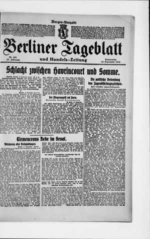 Berliner Tageblatt und Handels-Zeitung on Sep 19, 1918