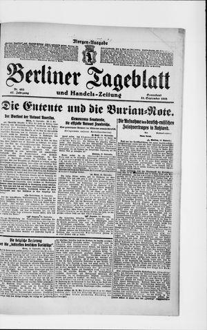 Berliner Tageblatt und Handels-Zeitung vom 21.09.1918