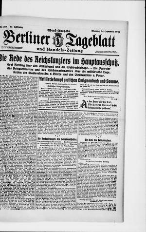 Berliner Tageblatt und Handels-Zeitung on Sep 24, 1918