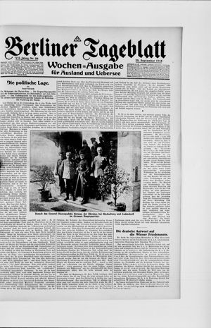 Berliner Tageblatt und Handels-Zeitung vom 25.09.1918