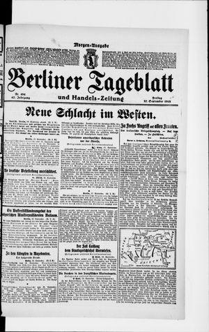 Berliner Tageblatt und Handels-Zeitung vom 27.09.1918