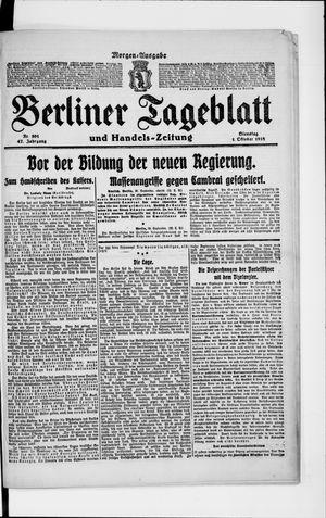 Berliner Tageblatt und Handels-Zeitung vom 01.10.1918