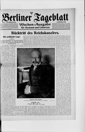 Berliner Tageblatt und Handels-Zeitung on Oct 2, 1918