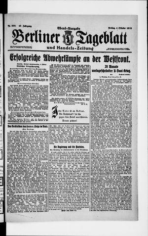 Berliner Tageblatt und Handels-Zeitung vom 04.10.1918