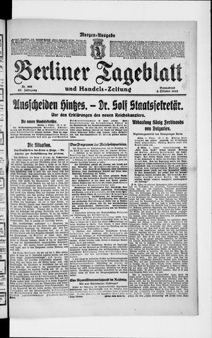 Berliner Tageblatt und Handels-Zeitung vom 05.10.1918