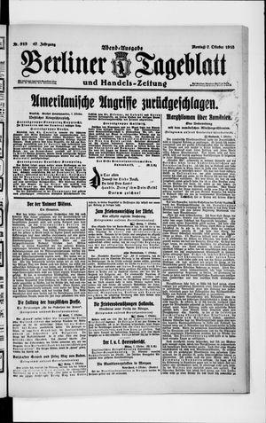 Berliner Tageblatt und Handels-Zeitung vom 07.10.1918
