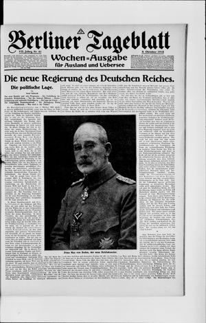Berliner Tageblatt und Handels-Zeitung vom 09.10.1918