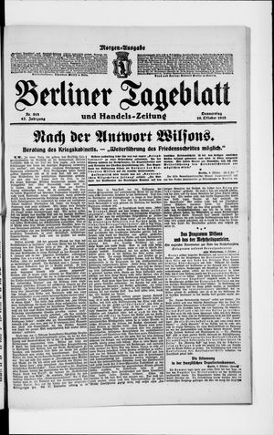 Berliner Tageblatt und Handels-Zeitung vom 10.10.1918