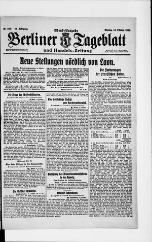 Berliner Tageblatt und Handels-Zeitung on Oct 14, 1918
