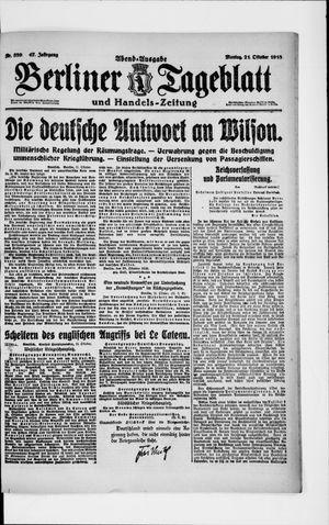 Berliner Tageblatt und Handels-Zeitung vom 21.10.1918