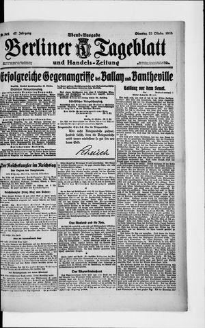 Berliner Tageblatt und Handels-Zeitung vom 22.10.1918