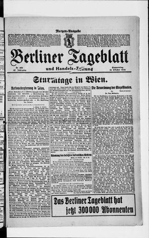 Berliner Tageblatt und Handels-Zeitung vom 31.10.1918