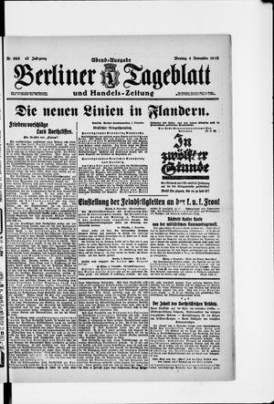 Berliner Tageblatt und Handels-Zeitung vom 04.11.1918