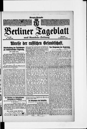 Berliner Tageblatt und Handels-Zeitung vom 06.11.1918