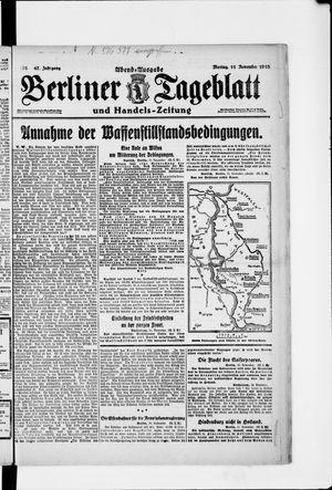 Berliner Tageblatt und Handels-Zeitung vom 11.11.1918