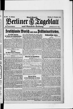 Berliner Tageblatt und Handels-Zeitung vom 12.11.1918
