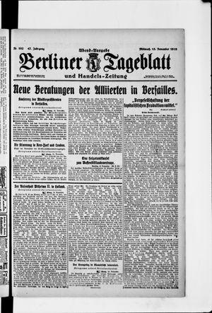 Berliner Tageblatt und Handels-Zeitung vom 13.11.1918