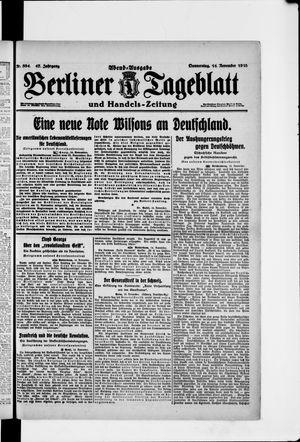 Berliner Tageblatt und Handels-Zeitung vom 14.11.1918