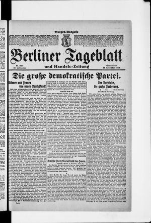 Berliner Tageblatt und Handels-Zeitung vom 16.11.1918