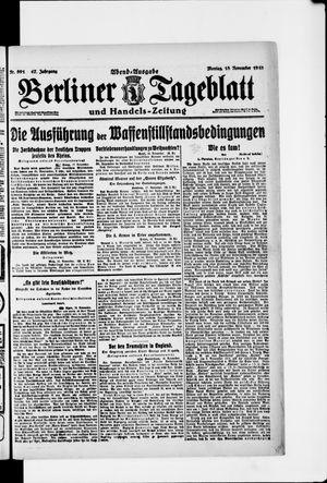 Berliner Tageblatt und Handels-Zeitung vom 18.11.1918