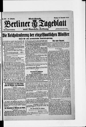 Berliner Tageblatt und Handels-Zeitung vom 25.11.1918