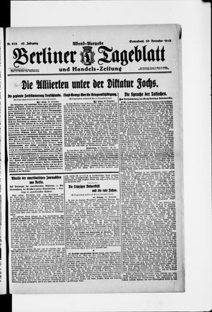 Berliner Tageblatt und Handels-Zeitung vom 30.11.1918