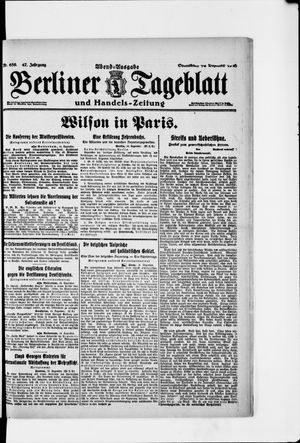 Berliner Tageblatt und Handels-Zeitung vom 14.12.1918