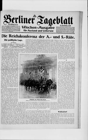 Berliner Tageblatt und Handels-Zeitung vom 18.12.1918