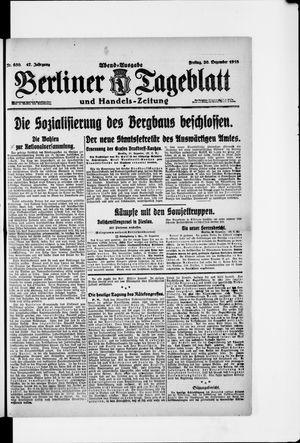 Berliner Tageblatt und Handels-Zeitung vom 20.12.1918