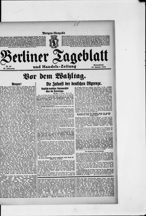 Berliner Tageblatt und Handels-Zeitung vom 18.01.1919