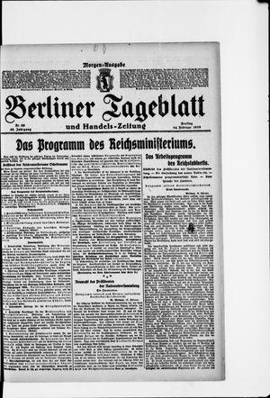 Berliner Tageblatt und Handels-Zeitung vom 14.02.1919