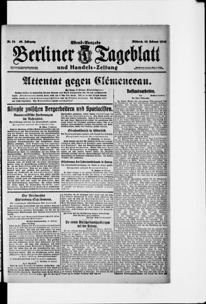 Berliner Tageblatt und Handels-Zeitung vom 19.02.1919