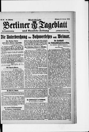 Berliner Tageblatt und Handels-Zeitung vom 26.02.1919