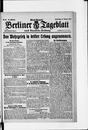 Berliner Tageblatt und Handels-Zeitung vom 27.02.1919