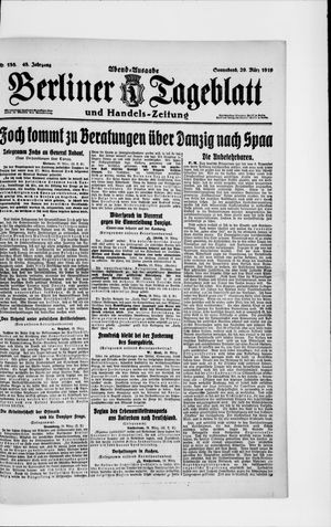 Berliner Tageblatt und Handels-Zeitung vom 29.03.1919