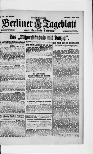 Berliner Tageblatt und Handels-Zeitung vom 01.04.1919