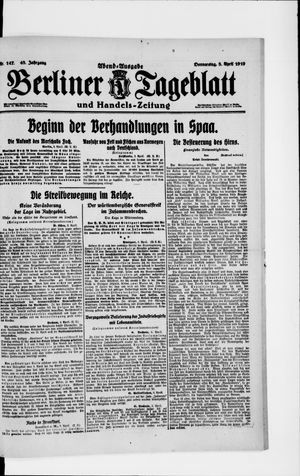 Berliner Tageblatt und Handels-Zeitung vom 03.04.1919