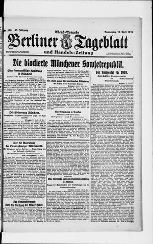 Berliner Tageblatt und Handels-Zeitung vom 10.04.1919