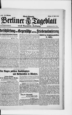 Berliner Tageblatt und Handels-Zeitung on Apr 11, 1919