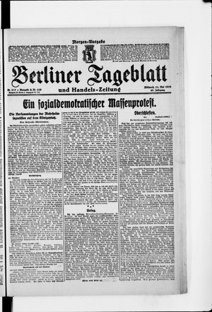Berliner Tageblatt und Handels-Zeitung vom 14.05.1919