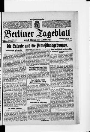 Berliner Tageblatt und Handels-Zeitung vom 15.05.1919