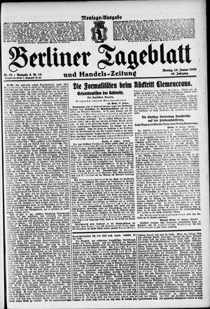 Berliner Tageblatt und Handels-Zeitung vom 19.01.1920