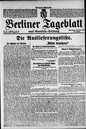Berliner Tageblatt und Handels-Zeitung vom 05.02.1920