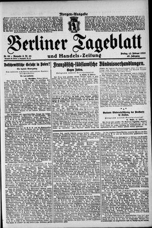 Berliner Tageblatt und Handels-Zeitung vom 13.02.1920