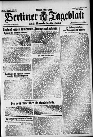 Berliner Tageblatt und Handels-Zeitung on Feb 14, 1920