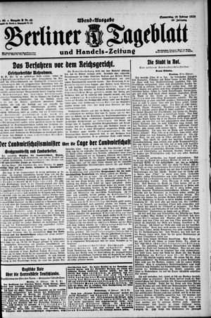 Berliner Tageblatt und Handels-Zeitung vom 19.02.1920