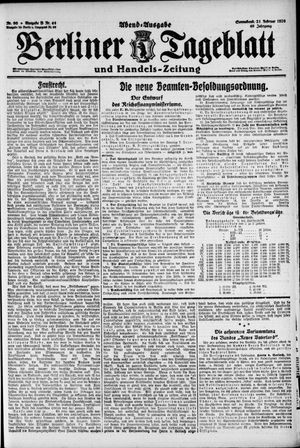 Berliner Tageblatt und Handels-Zeitung on Feb 21, 1920