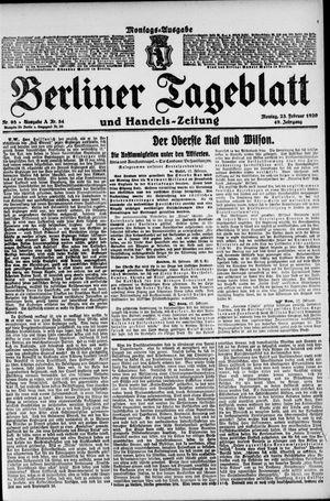 Berliner Tageblatt und Handels-Zeitung vom 23.02.1920